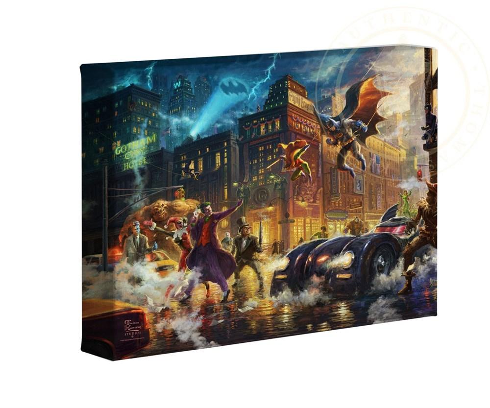 【取寄せ】 DCコミックス スーパーヒーロー バットマン 大きさ 40.6cm x 60.9cm 絵画 絵 アート キャンバス インテリア 装飾 デザイン 壁 Thomas Kinkade トーマスキンケード [並行輸入品] Thomas Kinkade Studios DC Super Hero Fine Art The Dark Knight Saves Gotham画像