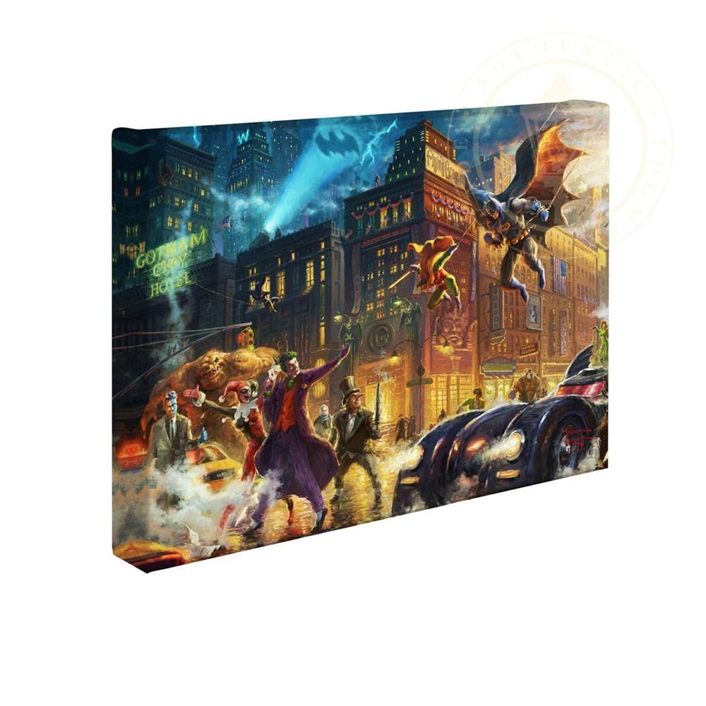 【取寄せ】 DCコミックス スーパーヒーロー バットマン 大きさ 25.4cm x 35.5cm 絵画 絵 アート キャンバス インテリア 装飾 デザイン 壁 Thomas Kinkade トーマスキンケード [並行輸入品] Thomas Kinkade Studios DC Super Hero Fine Art The Dark Knight Saves Gotham画像