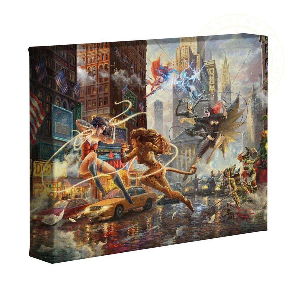 """【取寄せ】 DCコミックス スーパーヒーロー 大きさ 20.3cm x 25.4cm 絵画 絵 アート キャンバス インテリア 装飾 デザイン 壁 Thomas Kinkade トーマスキンケード [並行輸入品] Thomas Kinkade Studios DC Super Hero Fine Art The Women of DC 8"""" x 10"""" Gallery Wrapp画像"""