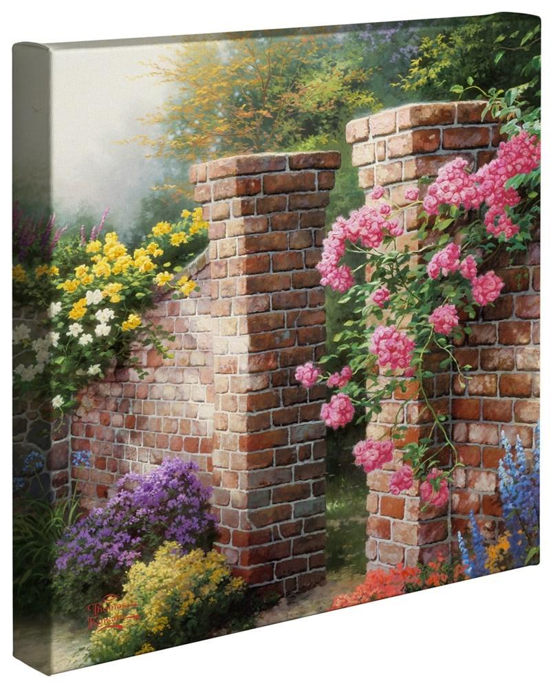 """【取寄せ】 風景 景色 自然 大きさ 35.5cm x 35.5cm 絵画 絵 アート キャンバス インテリア 装飾 デザイン 壁 Thomas Kinkade トーマスキンケード 風景画 [並行輸入品] Thomas Kinkade The Rose Garden - 14"""" x 14"""" Gallery Wrapped Canvas グッズ ストア プレゼント画像"""