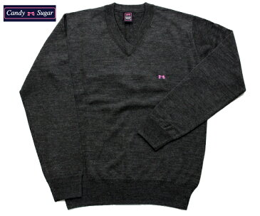 【candy sugar】キャンディーシュガー/スクールセーター (チャコールグレー) ウール混 スクール セーター 学生服 制服 school sweater 【532P19Apr16】