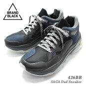 【2019年秋冬新作】BRANDBLACKブランドブラック『SAGA426BB』ダッドスニーカーメンズ25.5cm-28.5cmブラックグレー(BKGY)45921/ダッドシューズ靴ローカット厚底VibramビブラムL.Aブランド