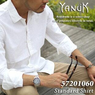 YANUKヤヌークスタンダードシャツ57201064/メンズS-LLサイズホワイト/メンズトップスシャツカジュアルシャツ長袖綿麻紺ロゴワンポイント光沢大人上品日本製定番