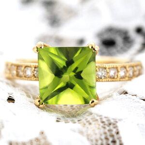 ペリドットスクエアバフトップ ダイヤモンド