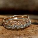 ローズカットダイヤリング「ドロップライン」対応金種:K18WG/YG/PG/SG 誕生石 4月