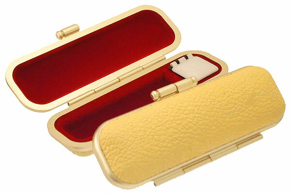 ◆【印鑑ケース・はんこケース】牛革ブランドAゴールドフレーム【イエロー】10.5mm?12mm用と/13.5mm?15mm用から/選べます。/朱肉付/プレゼントやギフトに!【10.5ミリ・12ミリ・13.5ミリ・15ミリ・実印・銀行印・認印・個人ハンコ福袋価格】