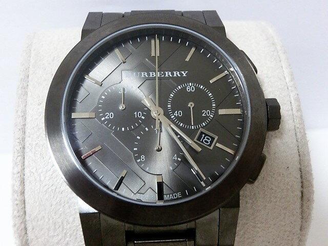 美品 バーバリー BU9354 クロノグラフ デイト メンズ 腕時計 ガンメタル SS クォーツ グレー文字盤☆ 【中古】 mk1180:BeRich 支店