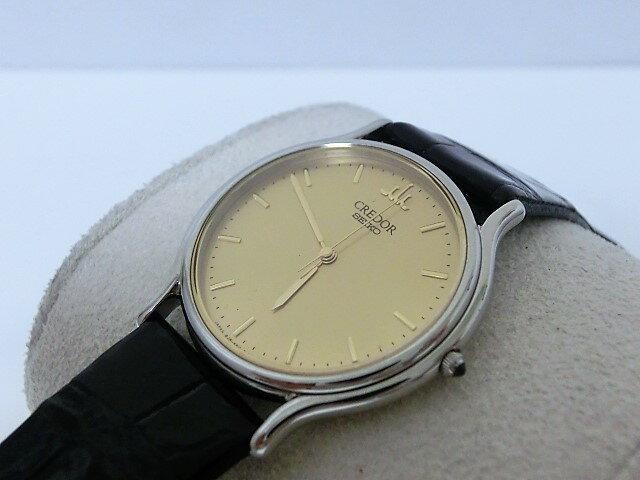 美品 セイコー クレドール GCAR051 8J81-6A30 メンズ 腕時計 SS/レザー ゴールド文字盤 SEIKO☆ 【中古】 mk1197:BeRich 支店