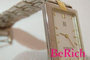 ジバンシィGIVENCHYレディース腕時計スクエア白ホワイト文字盤SSシルバーゴールドコンビブレスアナログクォーツ時計ウォッチレクタンギュラージバンシー婦人【中古】bt1313