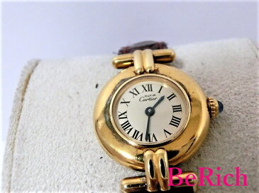 カルティエ マストコリゼ レディース 腕時計 SV925 レザー クォーツ アイボリー文字盤 Cartier 【中古】 【送料無料】 bt1338