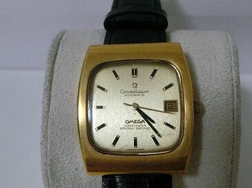 オメガ コンステレーション Cal1001 166.058 クロノメーター デイト SS/レザー ゴールド文字盤 自動巻き メンズ 腕時計 OMEGA 【中古】 【送料無料】 mk1411