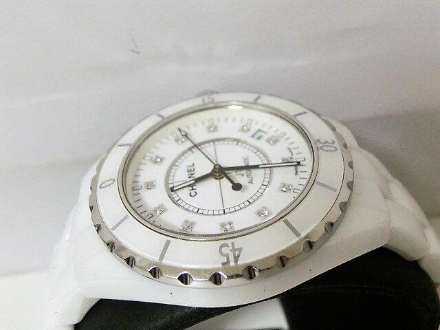 fa82f0a7bbf9 CHANEL J12 シャネル H1629 腕時計 ホワイト メンズ腕時計 12Pダイヤ 【中古】 ホワイトセラミック メンズ