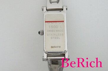 グッチ GUCCI レディース 腕時計 バングル ウォッチ 1500L 白 ホワイト 文字盤 シルバー ブレス SS アナログ クォーツ QZ レクタンギュラー ウォッチ 【中古】 bt1595