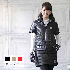 レディースゴルフウェア襟元ダウンの中綿半袖ジャケットレディースゴルフ半袖ジャケット