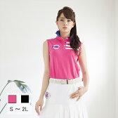 レディース ゴルフウェア ノースリーブ ライン ポロシャツ レディースゴルフ 半袖 ポロシャツ S〜4L 大きいサイズ BIGサイズ