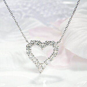 Pt900【1.12ct】オープンハートダイヤモンドネックレス