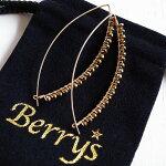 【Berry'sベリーズ】ヘマタイトビッグカーブピアス/魔除け/自信/勇気/勝利/ゴールドフィルド/14KGF/金/アクセサリー【ONE】