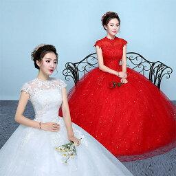 ウェディングドレス 袖あり ホワイト 赤 ドレス Aライン 結婚式ドレス 白 レース ブライダルドレス 優雅 エレガント 二次会ドレス 結婚式ドレス 花嫁ドレス ロングドレス 披露宴 挙式 送料無料
