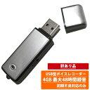 【送料無料】 (訳あり品) 超小型USB型 ワンタッチ ボイスレコーダー シルバーモデル 4GB W ...
