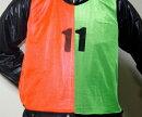 練習・試合に!ビブスオレンジ&グリーン1〜12番24枚セット【緑橙フットサルサッカーテニスバスケットボールバスケメッシュベストユニフォームベストメッシュサバゲーサバイバルゲームゼッケン防災作業着マラソン201407_送料込み10P05July14】