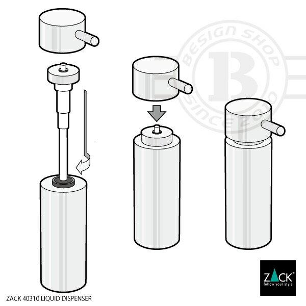 ZACK 40310 MANOLA 上質 ドイツ リキッドディスペンサーS| デザイナーズ [在庫有り] おしゃれ ホテルライク かっこいい 高級 ソープディスペンサー 液体ソープ入れ ステンレス