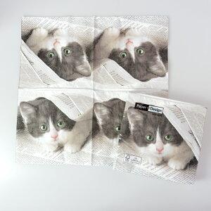 ランチナプキン(20枚入) PAPER+DESIGNペーパーナプキン紙ナプキンデコパージュカラフルポップシックモダンピクニックパーティお弁当33×33cm子猫PD21810[在庫有り]