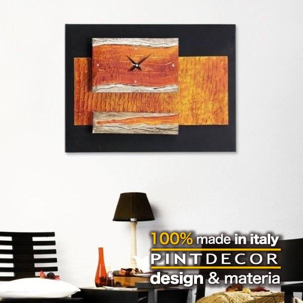 ウォールクロック|PINTDECOR SMERALDO P2152 ピントデコール イタリア モダンアート リビング ダイナミック デコラティブ ミックステクスチャー 立体 ハンドメイド オブジェ ホテルライク  壁掛け時計 新居 近代的 モダン オレンジ:ビザインショップ