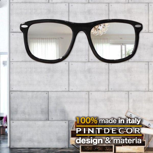 ウォールミラー|PINTDECOR OCCHIALI P4400 ピントデコール イタリア モダンアート リビング ダイナミック デコラティブ ミックステクスチャー 立体 ハンドメイド オブジェ ホテルライク  壁掛けミラー 鏡 眼鏡 サングラス 新居 モダン:ビザインショップ