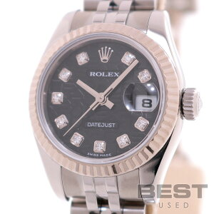 Rolex [ROLEX] Oyster Perpetual Datejust 179174G Ladies Black (Computer) K18 White Gold/Stainless Steel Wrist Watch OYSTER PERPETUAL DATEJUST BLACK(COMPUTER) K18WG/SS D10P Diamond [Used]
