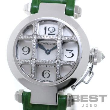 カルティエ 【CARTIER】 パシャ32 ダイヤモンドグリッド WJ11932G レディース シルバー K18ホワイトゴールド 腕時計 時計 PASHA32 SILVER K18WG Dコンベックス【中古】