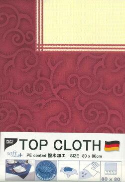 ペーパーテーブルクロス トップクロス 撥水加工 ドイツ製 不織布 トップクロス紙 ペーパートップクロス 80X80cm ボルドー 西洋唐草模様 枠柄