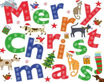 【クリスマスカード グリーディングカード 輸入カード 】アメリカ Caspari(カスパリ)定型サイズ 封筒付き メリークリスマスアニマルズ