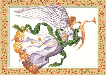 【クリスマスカード グリーディングカード 輸入カード 】アメリカ Caspari(カスパリ)定型サイズ 封筒付き クリスマス トランペットエンジェル