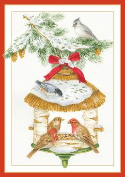 【クリスマスカード グリーディングカード 輸入カード 】アメリカ Caspari(カスパリ)定型サイズ 封筒付き クリスマスバードハウス