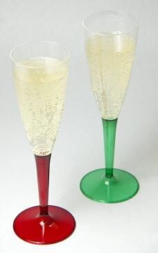 【プラスチックグラス シャンパングラス パーティー食器】Mozaik シャンパングラス レッド&グリーンステム 10脚入り 【スパークリング プラスチックグラス イベント グラス 使い捨て】