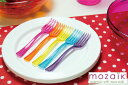 Mozaik モザイク プラスチック製 カラフルミニフォーク5本&ミニプレート5枚 プラスチックプレ...