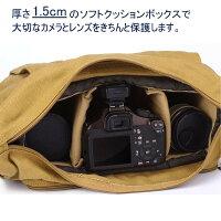 BESTEKキャンバス素材一眼レフ用レンズ2本カメラバッグインナーバッグ付きおしゃれショルダーバッグ防水仕様iPad入り可BTDB01
