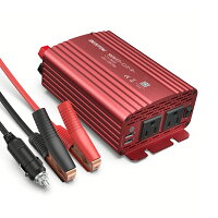 カーインバーター500Wシガーソケット車載充電器USB2ポートACコンセント2口DC12VをAC100Vに変換赤MRI5010BUBESTEK