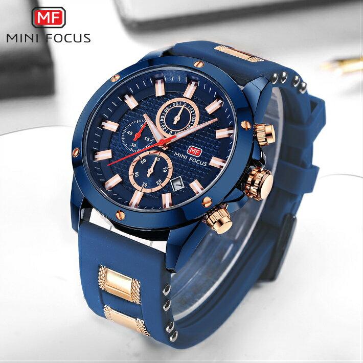 【・税込み】MINI FOCUS TB-4503 腕時計 お洒落 日本製クオーツ メンズ 重厚 高級 クール 流行 カレンダー ストップウォッチ Quartz