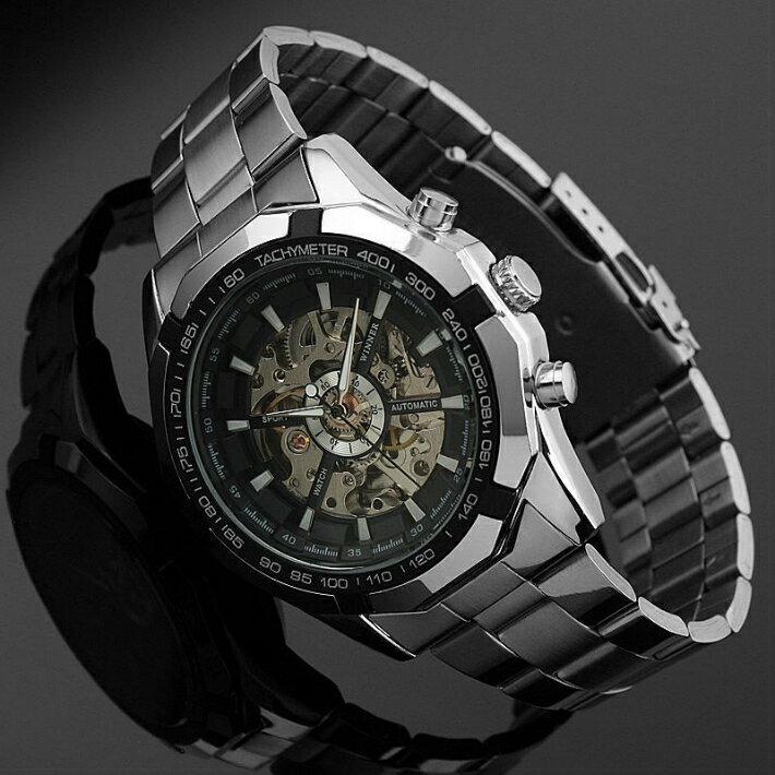 【・税込み】WINNER TB-56012001 腕時計 シースルー バック お洒落 自動巻き メンズ 重厚 高級 クール 流行
