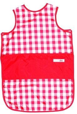 お食事用エプロン ノースリーブ ロングタイプ[チェック レッド}保育園 ベビー 袖なし 撥水加工・表生地 裏生地2枚合わせで漏れにくいです。マジックテープ付きで着脱が簡単です。