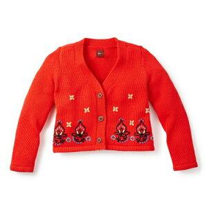 Tea Collection カーディガン ニット 赤 刺繍 Riya Embroidered Cardigan レッド 海外 かわいい おしゃれ ベビー 赤ちゃん キッズ 子供 女の子 ティーコレクション かわいい おしゃれ ブランド インポート 1歳 2歳 3歳 カジュアル ナチュラル 80 90 誕生日祝