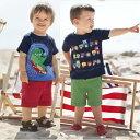 【メール便可】JoJo Maman Bebe ◆ サーフィングディノTシャツ トラクターTシャツ 恐竜 車柄 半袖 1歳 2歳 3歳 4歳 5歳 男の子 ネイビー カー ブルー レッド ジュニア 機械 トラクター シャツ 春 夏 Surfing Dino Tractor T-Shirt