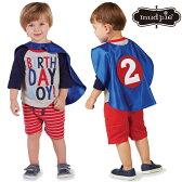 【メール便可】MudPieLittleBoysBirthdayBoyT-Shirt&CapeSetバースデイTシャツ&ケープセットお誕生日バースデイパーティーマッドパイグレイブルーコスチューム仮装スーパーマン