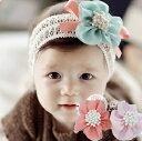 3色スポンジ粒花レース オーガンジー ヘアアクセサリー 赤ちゃん ヘアバンド カチューシャ 誕生日  ...