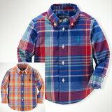 ポロラルフローレン/POLORALPHLAUREN長袖Yシャツボタンダウンチェック(CottonMadrasShirt)【メール便可】キッズベビー赤ちゃん子供男の子