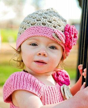 【メール便可】 Ruffle Butts グレース カーキ グレー クロシェニット帽子 コットンハット フラワーモチーフ Handmade Crocheted Ella Grace Beanie ★ラッフルバッツ 6-12m 12-24m かわいい 可愛い 子供 1歳 2歳 旅行 赤ちゃん 80 90