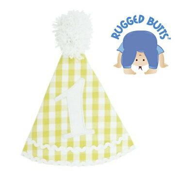 【メール便可】 Rugged Butts Yellow Gingham Birthday Hat 誕生日1歳帽子 チェック イエロー ファーストバースデー 男の子 ★ ラゲットバッツ ハット バースディ かわいい 海外 ブランド おしゃれ 写真 フォト ブルー 春夏 ラゲット