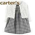 【送料無料】【2019新作】Carter'sカーターズ正規品ワンピース長袖カーディガンブルマの3点セット☆黒ギンガムチェック☆女の子