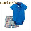 【送料無料】【2018新作】カーターズCarter's正規品半袖襟付きボディスーツ&半ズボンの2点セット☆ブルー☆